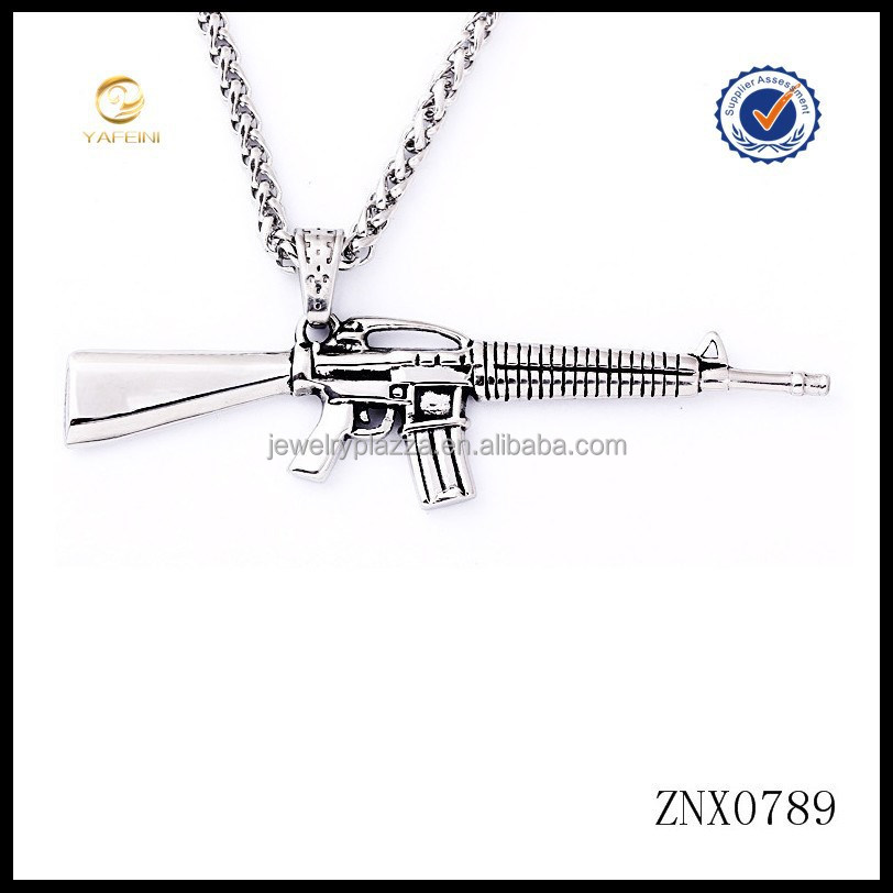 New model gun weapon jewelry 925 sterling silver gun pendant necklace