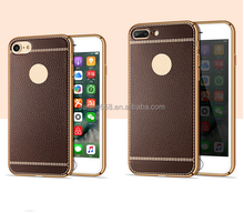 factory new style electroplated pu leather coated tpu back cover case for iphone 6