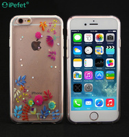 Printed Flowers Clear TPU Covers Case For iPhone 7/7 Plus Ultrathin Phone Case