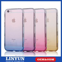 New Gradual Color Soft Clear TPU Back Cover for iPhone6 Case with Diamond Edge,TPU Phone Case for iPhone 6
