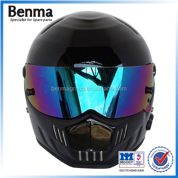 Motorcycle riding 80KM/S stable connection 10 hours standby bright black glass steel high quality stereophonic bluetooth helmet