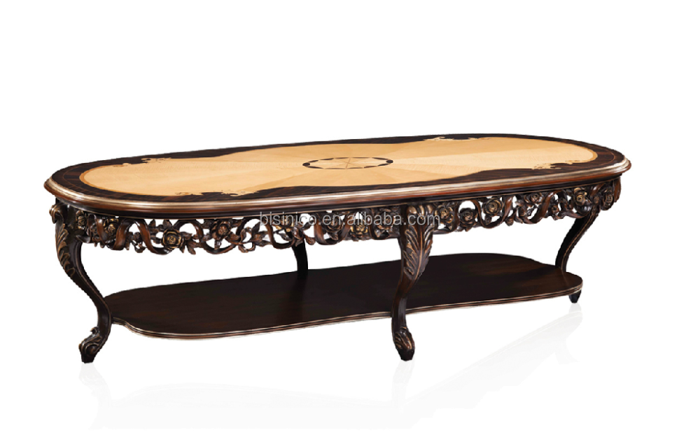 Baroque antique style italian oval dining table solid for Baroque dining table set