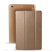 3 Folder Stand Ultrathin Transparent PC Back Cover Smart Leather Case For iPad Mini4