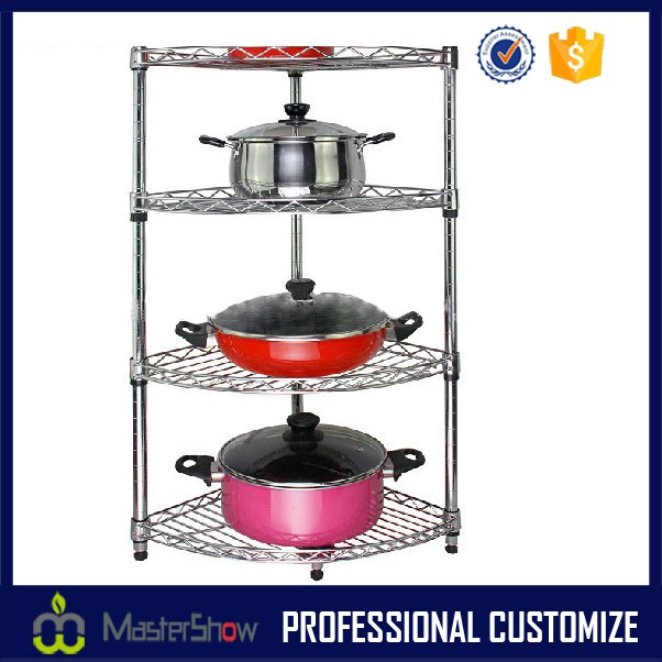 4 layer metal pot rack in store for promotion