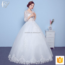 Lace long sleeve backless white bridal ball gown wedding dresses