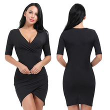Fashion V Neck Latest Designs Party Black Bodycon Women Sexy Dress