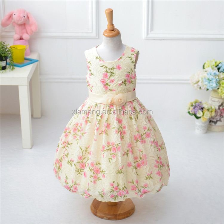 Alibaba Wholesale Plain Floral Print <strong>Kids</strong> Beautiful New Model Casual Dresses for Girls