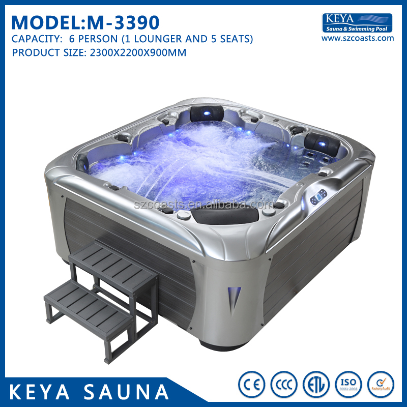 Luxury freestanding 6 people US Lucite Acrylic whirlpool massage outdoor hot spa tub(M-3390)