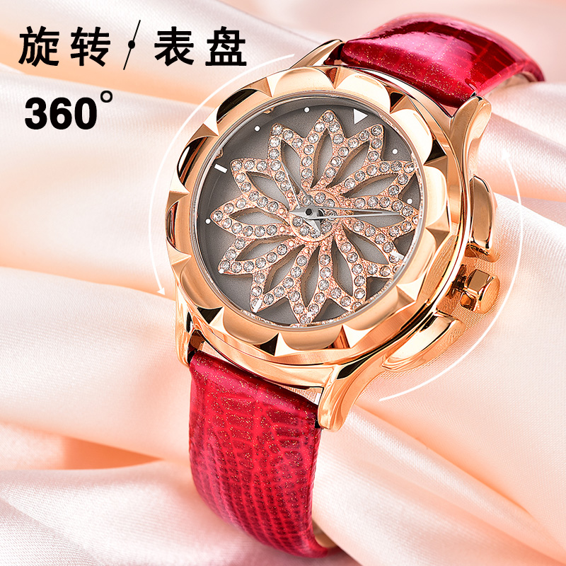 Rotating Dial Diamond Fashion Wholesale Latest Leather Wrist Watch For Girl