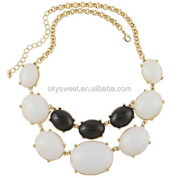 black and white beads necklace,gold large acrylic bead necklace