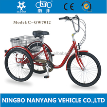 High quality 24 inch steel frame adulst tricycle/6 speeds shopping tricycle/ delivery trike for elderly/GW7012