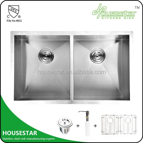 HOUSESTAR stainless steel double bowl kitchen sink handmade aluminum heat sink for sale HS3219