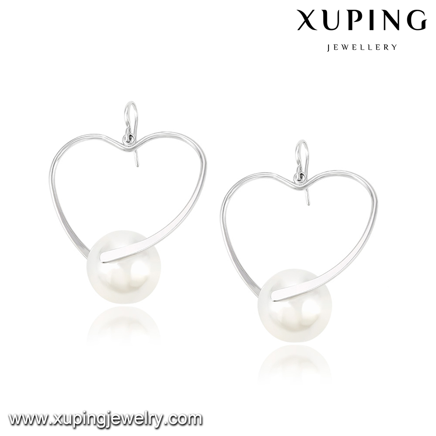 92346 XUPING fashion heart earrings with pearl,alloy jewelry,hook earring