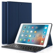 Ultra Lightweight Stand Portfolio cover case with Detachable Bluetooth Keyboard for Apple New iPad 9.7 2017 tablet (Blue))
