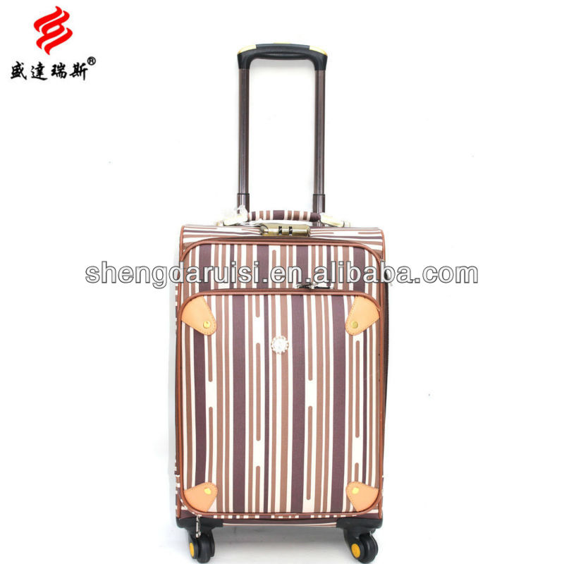 2015 China factory promoted sturdy PU universal wheel luggage suitcase trolley case