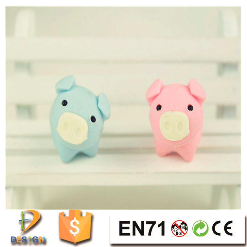Alibaba wholesale low MOQ creative 3d pig animal rubber material erasers for school students