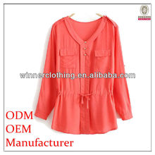 Trendy Fashion Collarless Blouse with Chest Pockets Womens Semi Formal Tops and Blouse