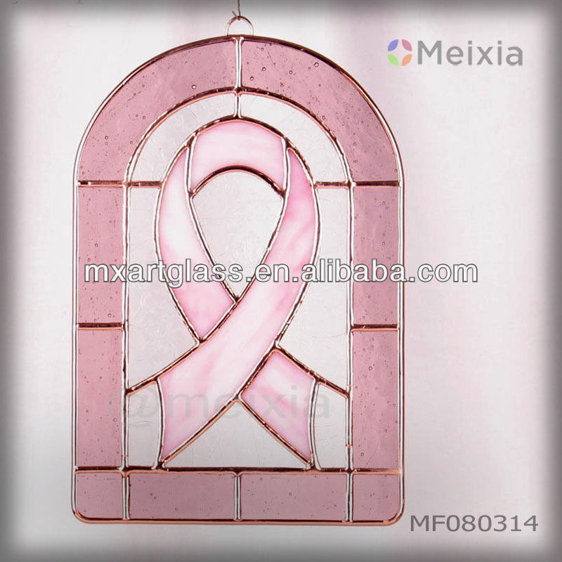 MF080314 tiffany style stained glass craft for breast cancer wall hanging suncatcher