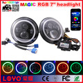 "Phone Control Bluetooth 7"" headlight for jeep wrangler RGB Color Halo Ring 7 inch led DRL headlight For Jeep"