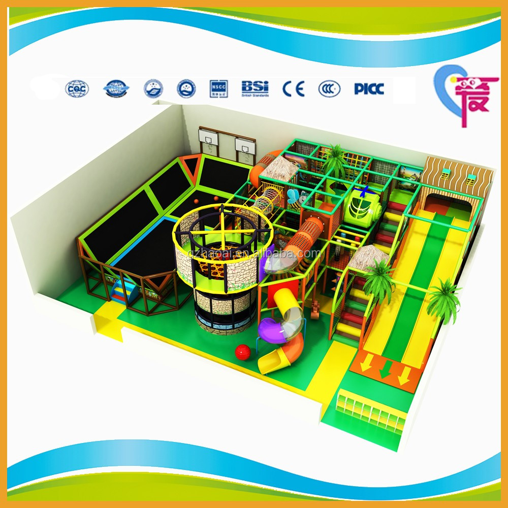 A-15346 Kids Soft Play Games Area Sets Indoor Playground Equipment with Trampoline and Large Slide for Sale