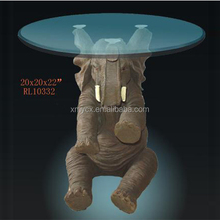 Polyresin animal style coffee table elephant coffee table