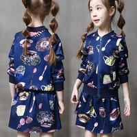 F40213A Children clothing sets fall boutique girl clothing fashion girls coat and dress sets