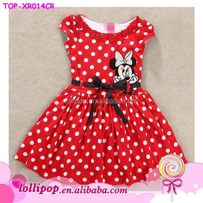 Summer new minnie girl dress cartoon mouse polka dots baby dress red lovely baby girl dress pattern