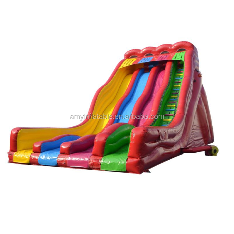 Guangzhou wholesale water slides rainbow color commercial grade lake inflatable water slides