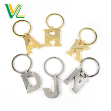 OEM Design trendy Zinc alloy letters Matt Gold matt silver Split ring Promotion Keychain for woman