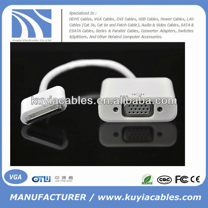 VGA Adapter Cable for IPad ,for Iphone 4