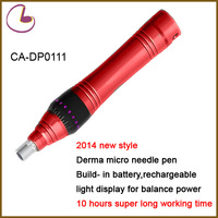 2014Newest Rechargeable Roller Derma Electric Pen build-in Battery with Light indicator With Adjustable Needles