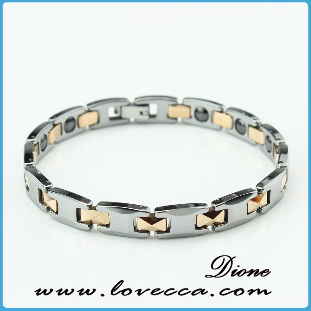 factory Wholesale fashion magnetic health titanium steel bracelet with gold and steel link