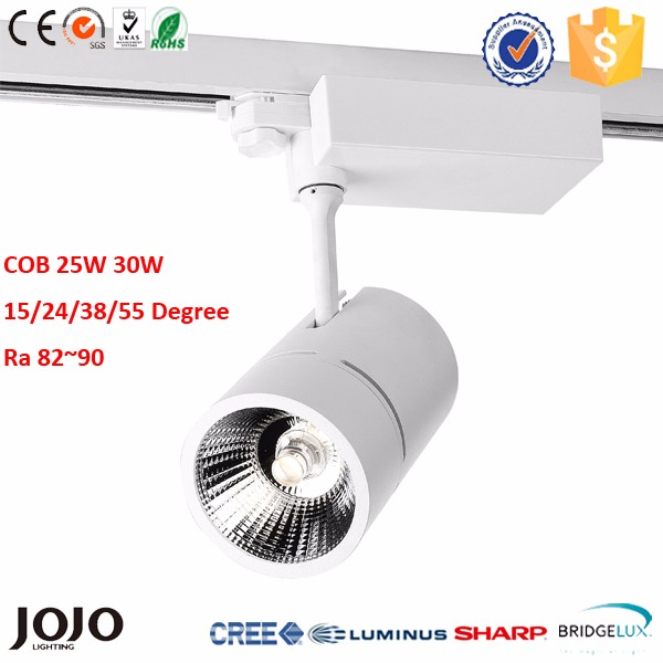 3 Phase 4 wires Bridgelux or Sharp commercial shop 25W 35W COB LED dimmable track light
