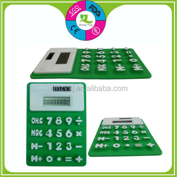 Customized 8 digital solar silicon calculator silicon fold waterproof calculator