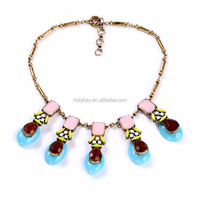 European and American fashion star for Personality gemstone pendant necklace