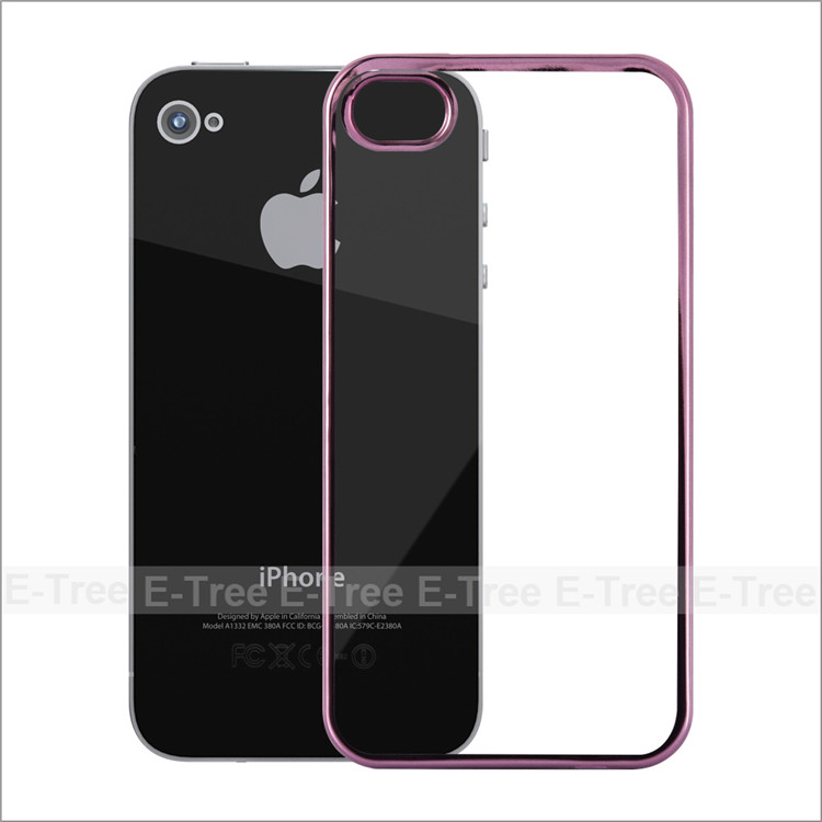 Fresh High Quality Chrome Electroplate Silcon Tpu Shockproof Case Cover For Apple iPhone 4
