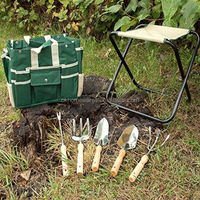 Garden Home 7 Piece Garden Tool Set Includes Folding Stool With Tool Bag Tools