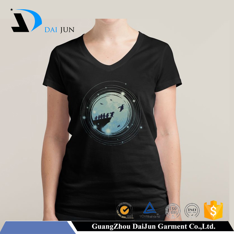 Daijun oem black print breathable high quality equalizer led light sound activated led t shirt