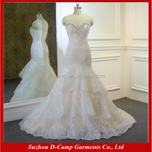 WD336 Beaded sweetheart neckline tiered lace pakistani bridal dress lace mermaid wedding dress sexy