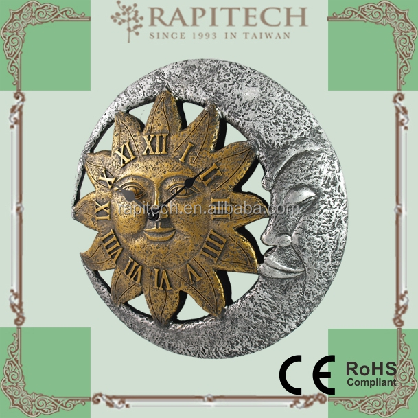 Sun Moon Shaped Indoor Outdoor Wall Clock Polyresin Clock