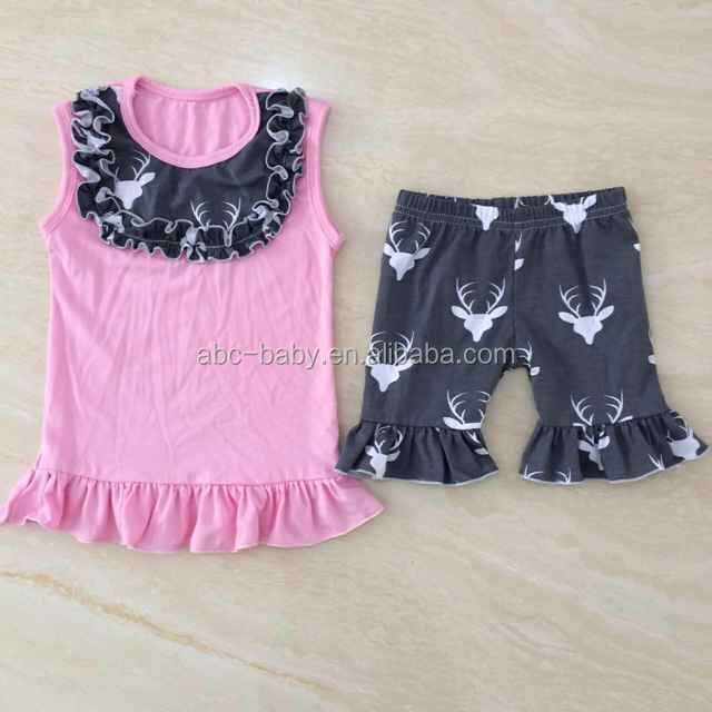 Hot sale children summer outfit set baby girls sleeveless ruffle sets wholesale baby boutique clothing china