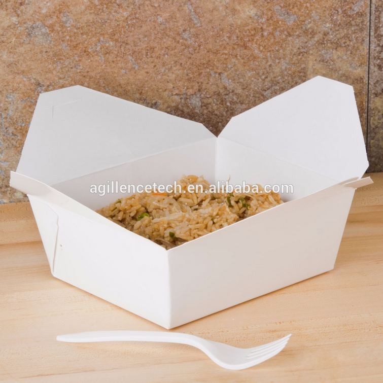 2016 White color kraft paper folding lunch boxes kraft paper take out box folding take out boxes