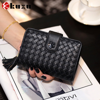 New fashion high quality real leather wallet woven pattern unique ladies hand clutch purses