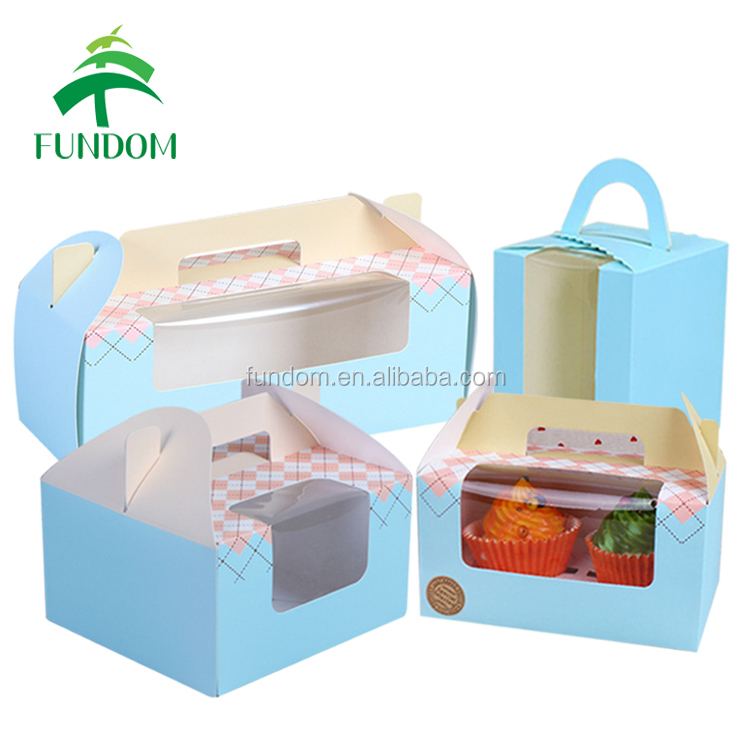 china alibaba custom printed fresh green color wholesale paper single cupcake box with handle