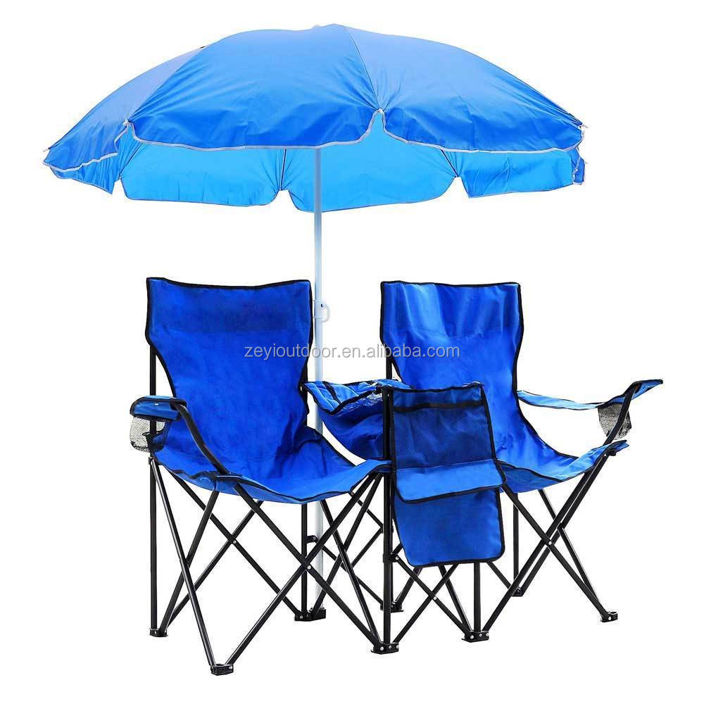 Portable Folding Picnic Double Chair With Umbrella Table Cooler Beach Camping Chair