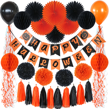 Umiss Black, Orange Party Banner Bunting, Paper Fan,Flower,Garland,Balloon,Spiral Tags Decoration for Happy Halloween