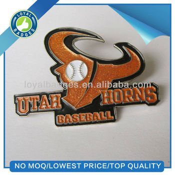 high quality custom cheap glitter baseball lapel pin