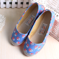 SAA1047 Fashion flat canvas shoes fancy butterfly printed ladies slip on shoes in bulk