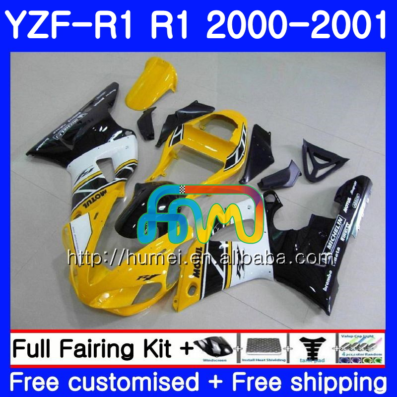 Body For YAMAHA YZF R 1 YZF 1000 Yellow white YZF-<strong>R1</strong> <strong>00</strong>-<strong>01</strong> Bodywork 98HM8 YZF1000 YZF-1000 YZF <strong>R1</strong> <strong>00</strong> <strong>01</strong> YZFR1 2000 2001 Fairing
