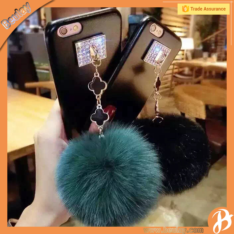 New Style Plush Back Cover With Cute Rabbit Fur Hair Ball Case For Iphone 7